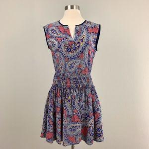 J. Crew Silk Smocked Paisley Dress
